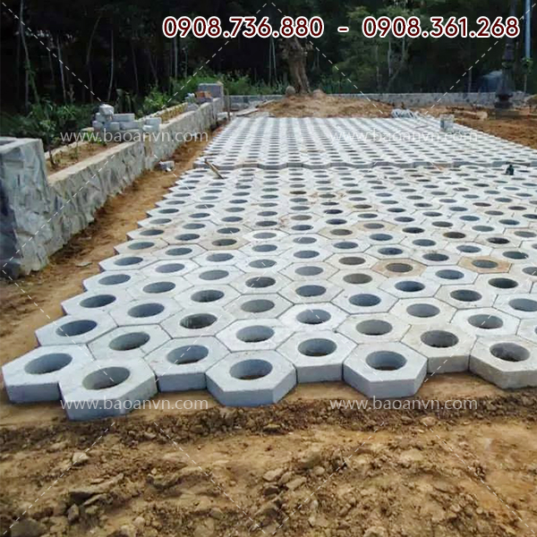 Khuôn gạch trồng cỏ lục lăng lỗ tròn - Mã 004069